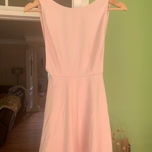 baby pink back less dress